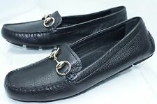 Gucci Women's Shoes Black Flats Logo Size G 36.5 Praga Loafers Leather NIB