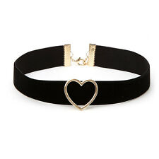Women Favorite Punk Goth flannel Heart Ring Collar Choker Funky Necklace Jewelry