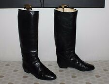 Vintage Black Leather ROSS Pull On Mid Calf Low Heel Riding Boots Size 6 / 39