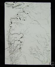 Glass Magic Lantern Slide MAP OF WESTERN NORWAY C1900 NORWAY