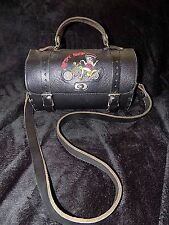 Vintage black leather embroidered BETTY BOOP saddle barrel bag gladstone Biker
