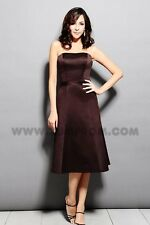 Chocolate Brown, Knee-Length Strapless Dress (Size 4; Saison Blanche)