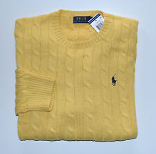 New Men's Polo Ralph Lauren Crewneck Cableknit Pullover Sweater Yellow L, Large