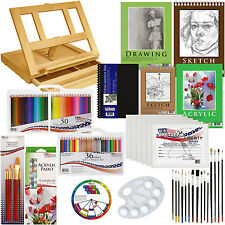 134pc Deluxe Acrylic Paint Sketch Set Easel Draw Pad Canvas Brushes Color P