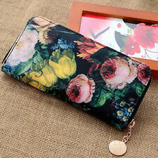 NEW Small vintage Oil Painting Floral Wallet Purse Bag Oil Painting Floral
