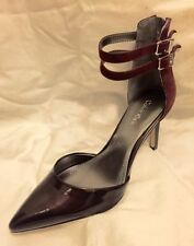 Calvin Klein Bayana Patent Port Maroon Pointy Toe Ankle Strap Heels Shoe 8.5 USA
