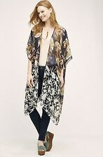 NWT Anthropologie Citrus navy sheer floral Sequined Silk Kimono Jacket O/S