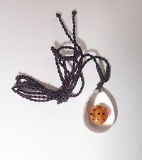Insect Necklace - 13 Star Golden Ladybird Beetle (Oval Shape Clear)