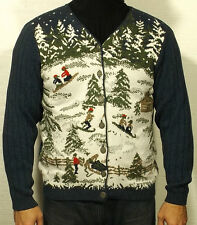 men's women's vintage UGLY CHRISTMAS CARDIGAN SWEATER toboganning skiiing LARGE