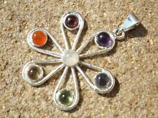 Silver plated flower design 7 cabochon crystal chakra healing pendant
