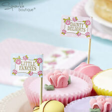 VINTAGE ROSE CAKE PICKS/Canape Sticks -Afternoon Tea Party-Pink- RANGE IN SHOP!