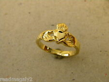 Lady's Girl's Small Yellow Gold Plated Irish Fashion Heart Claddagh Ring Size 7