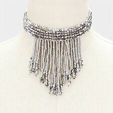 "12"" silver crystal fringe bead boho collar choker necklace earrings 207"