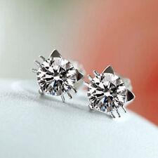 2*1CT Cat Diamond Earrings 925 Sterling Silver Love Heart Gift Her MOM -ER73