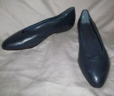 Vintage UNWORN 1980s NAVY BLUE leather low cut toe cleavage flats COBBIES sz 8 B