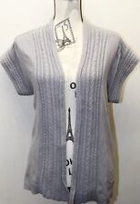 Zara Knit Women Open Sweater Blouse Gray Cable M Cotton Shorts Sleeve