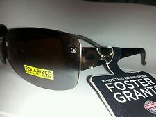 Large View Womans Foster Grant Rimless Polarized Sunglasses Tortoise Brown Lens