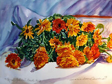 "STUNNING DORANNE ALDEN ORIGINAL ""Papal Yellow"" MARIGOLDS WATERCOLOUR  PAINTING"