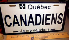 Montreal Canadiens NHL hockey team Metal License Plate, Quebec plate style