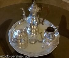 Antique English sterling Silver  Coffee Set Adie Brothers plus a German 800 tray