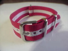 Red/White SKUNK BOND NATO G10 20mm Military strap band for TIMEX Weekender Watch