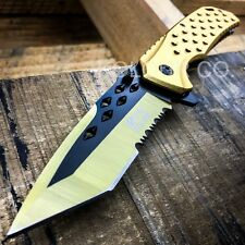 "8.5"" M-TECH SPRING ASSISTED OPEN Gold Blade Tactical Folding Pocket Knife Switch"