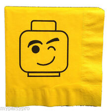 Lego inspired, Block Head WINK Face Lunch Napkin Birthday Party Supplies