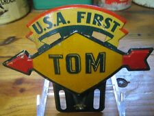 Vintage Original Sunoco Gas Oil License Plate Topper Sign TOM Metal Advertising