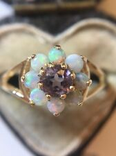 Antique Yellow Gold Amethyst And Opal Flower Cluster Ring Very Pretty