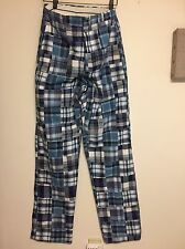 """Murray's Toggery Madras Patchwork Pants Blue White Plaid 33"""" inseam size 28"""