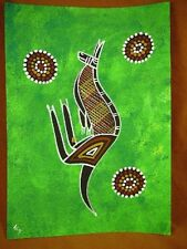 AUS-6 Kangaroo lime green Australian Native Aboriginal PAINTING Artwork T Morgan