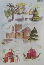 Craft UK Christmas Toppers 2155 - Christmas Church, Postbox & Candles
