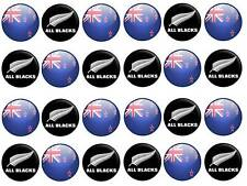 24 cake toppers New Zealand all blacks rugby kiwi cupcake party edible paper