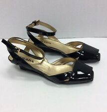 Prada Black Patent Leather Peep Toe Pumps - Size 37