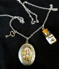 Alice in Wonderland DRINK ME Silver Locket Necklace Pendant Bottle Key Steampunk