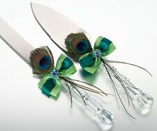 Peacock Feather Wedding Knife Cake Serving Set Server Reception Gift ENGRAVING