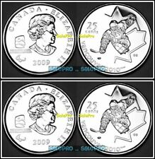 2x CANADA 2009 CANADIAN VANCOUVER WINTER OLYMPIC SLEDGE HOCKEY 25 CENT COIN LOT