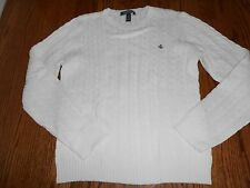 LAUREN RALPH LAUREN WHITE COTTON CREW CABLE KNIT SWEATER - NEW WITH TAGS - LARGE