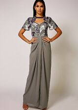 Dress 6 BNWT Virgos Lounge Embellished Grey Wedding Bridesmaids Prom Maxi £130