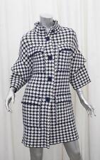 CAROLINA HERRERA Womens Classic Navy+White Wool Houndstooth Jacket Coat XS