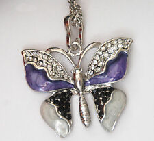 """Butterfly Pendents w Crystals / Choose Color / Amazing Detail / 24"""" Silver-tone"""