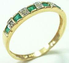 FINE 10KT SOLID YELLOW GOLD EMERALD & DIAMOND BAND RING SIZE 7   R1081