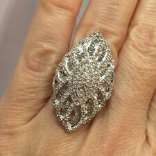 Large Sterling Silver 2 Ct Diamond Pave Cocktail Cluster Wedding Huge Ring 6 1/2