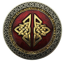 Celtic Round Belt Buckle With Gold Plate Detail In Gift Box + Display Stand (R).