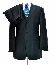 Iconic Gianni Versace Navy Windowpane Suit ~ 40R 34 X 28 Med Blue Classic V2