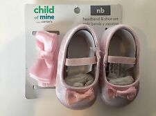 *EASTER* Newborn Pink Satin Shoes & Headband Bows Child of Mine Carters Baby