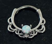 1 Pc 316L Surgical Steel Lacey W/ Single White Opal Septum Clicker 16G