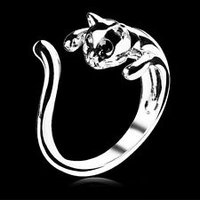 New Women Men Vintage Cool Silver Plated Kitten Cat Ring Crystal Eyes Retro Boho