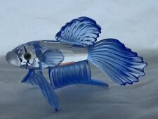 Swarovski Blue Crystal Siamese Fighting Fish with Box and Certificate Mint