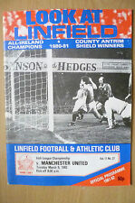 1982 Irish League Championship- LINFIELD v MANCHESTER UNITED, 9 March